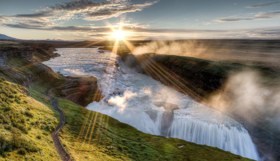 Mist And Sunrise Over Gullfoss Waterfall In Iceland, Best International Waterfalls