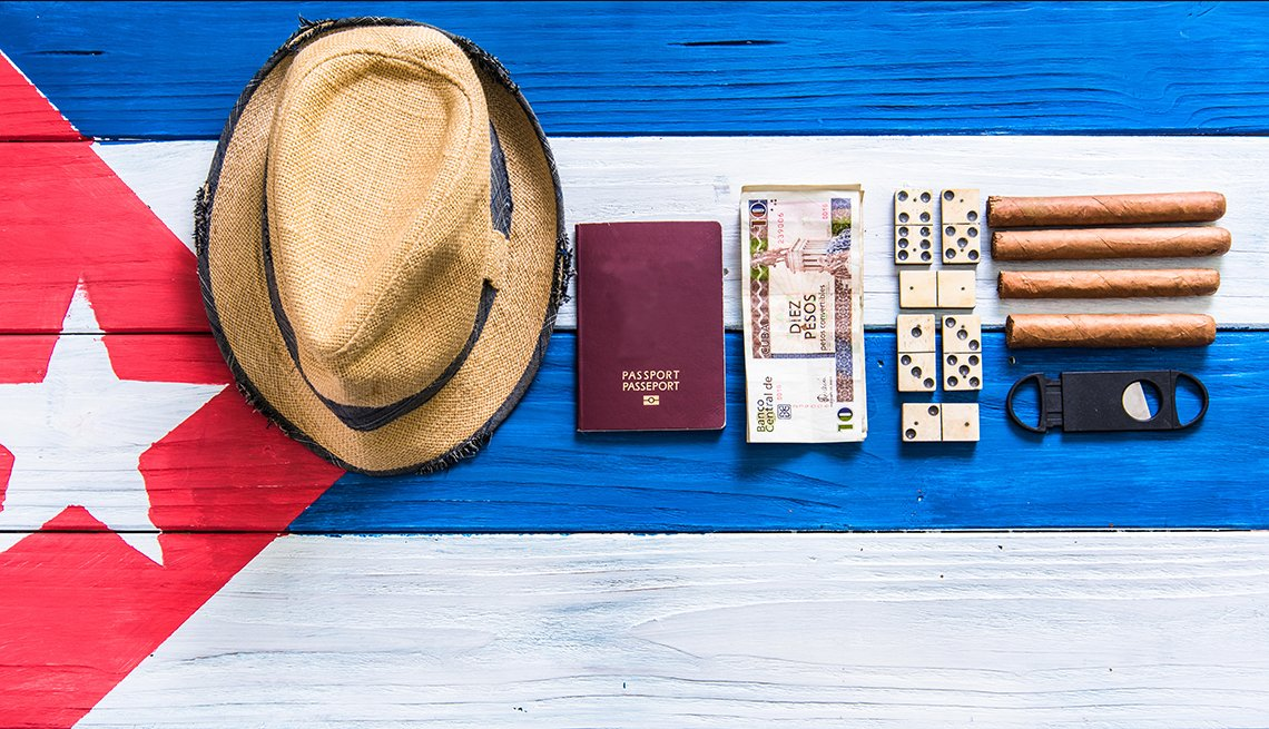 Cuban Flag Painted on Wood with Hat, Passport and Cigars, How to Visit Cuba, Travel