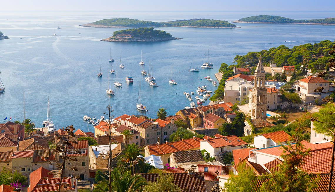 Aerial View Of The Island Of Hvar In Croatia, Island Getaways