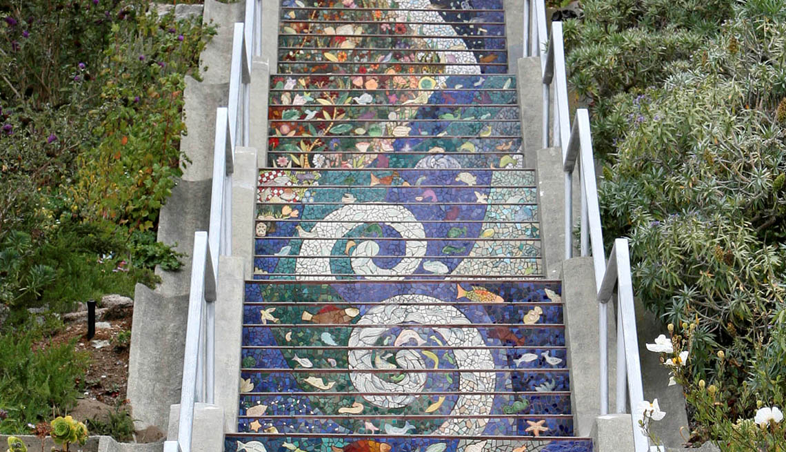 The Intricate And Colorful Mosaic Staircase In San Francisco, Great Staircases