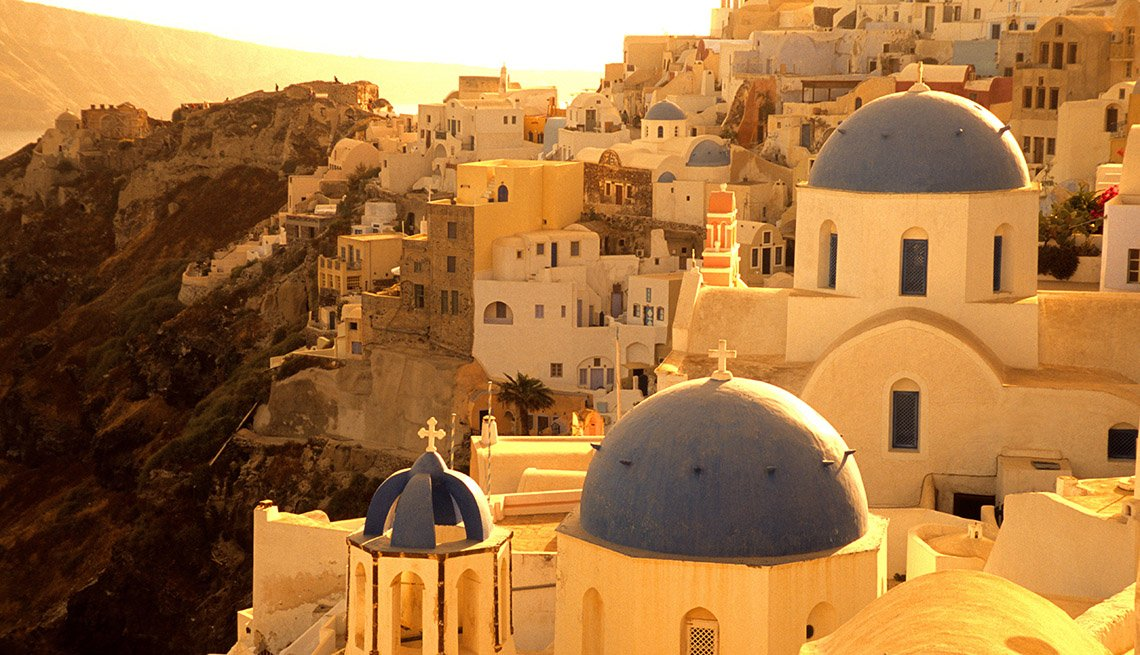 The Famous White Rooftops Of Santorini Greece At Sunrise, Island Getaways