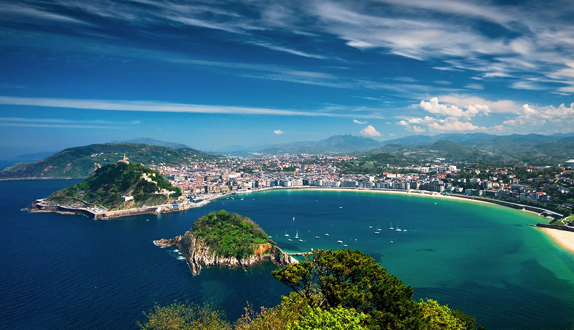 Aerial view on San Sebastian, Spain, International Bucket List Destinations