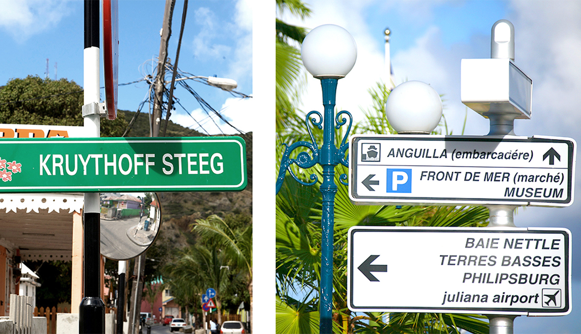 Traffic Signs in the Dutch and French Languages on Saint Martin-Saint Maarten Island, Caribbean Island Guide