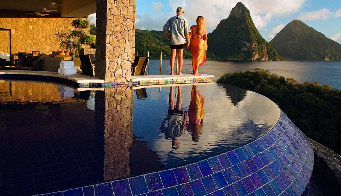Couple Looking at Piton Mountains on Saint Lucia Island, Caribbean Island Guide