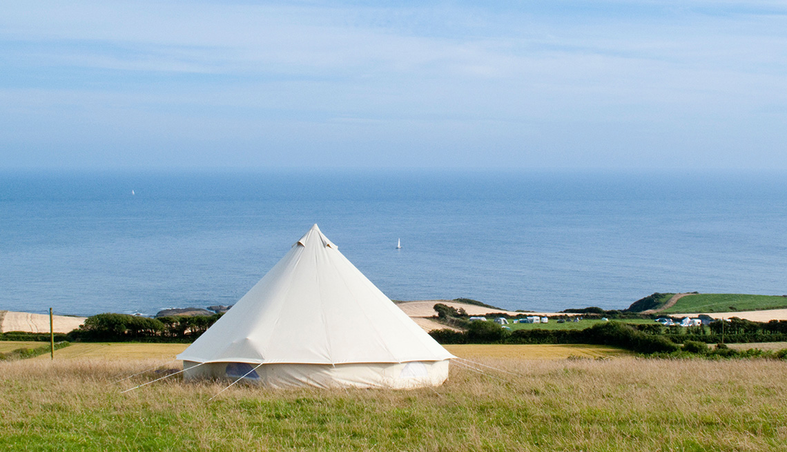 White Yurt Tent Called The Cuckoo Down Farm Near South Devon England United Kingdom, Global Gamping