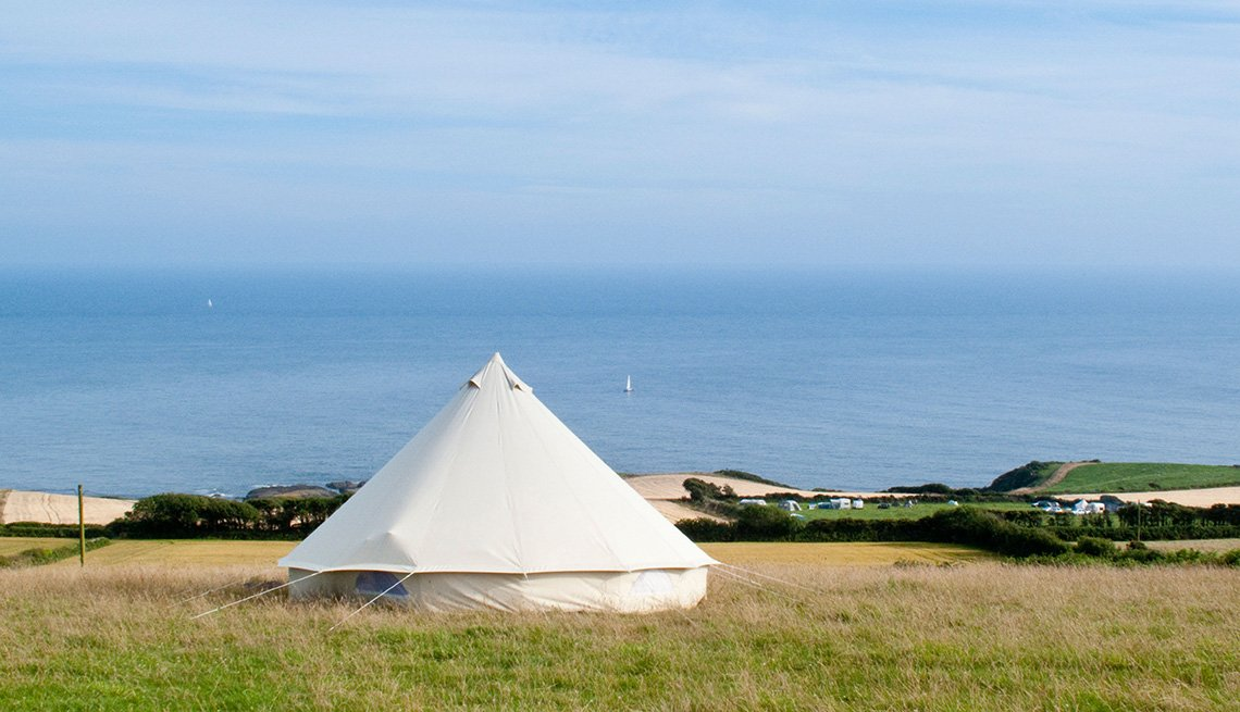 White Yurt Tent Called The Cuckoo Down Farm Near South Devon England United Kingdom, Global Gamping
