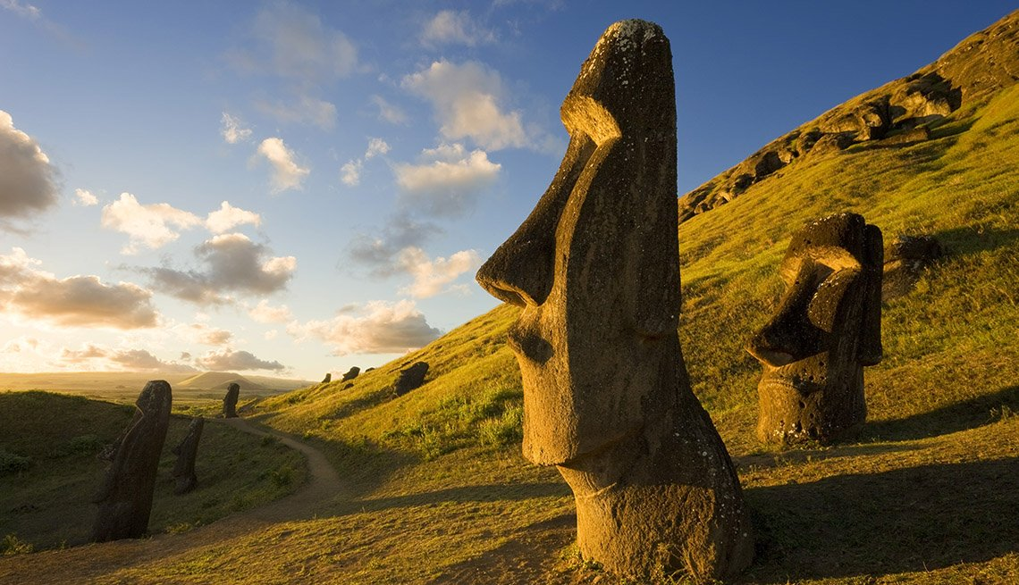 The Head Sculptures At Rapa Nui Easter Island Chile, Latin American Natural Wonders