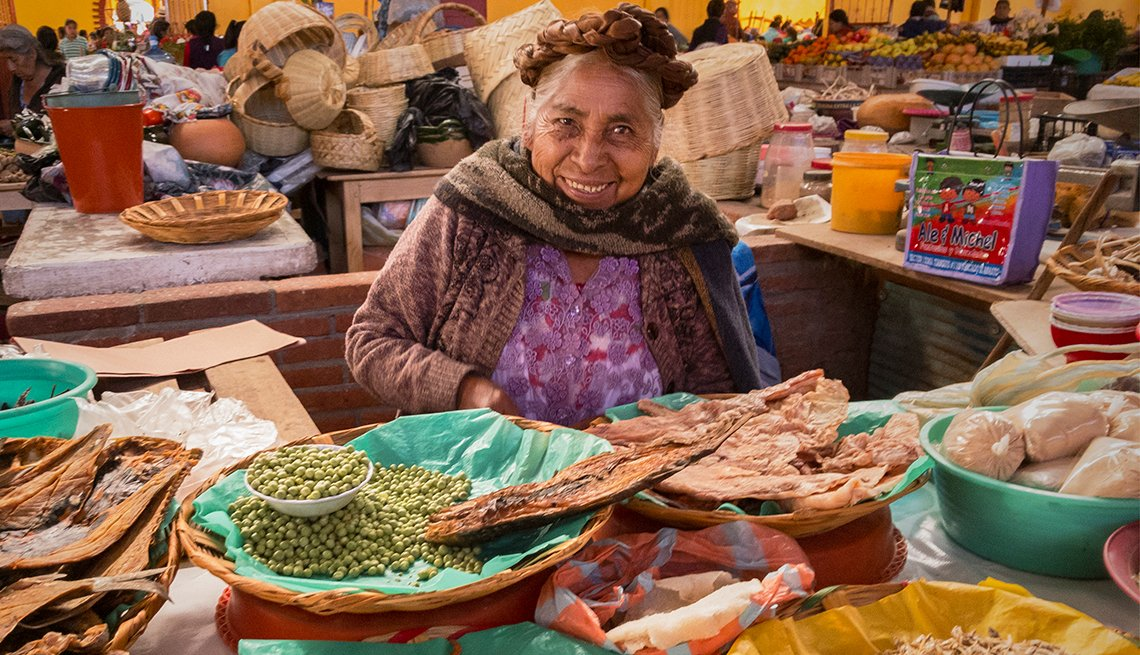 Mature Zapotec Woman Selling Dried Seafood in Oaxaca, Mexico, Mexican Getaways, Travel