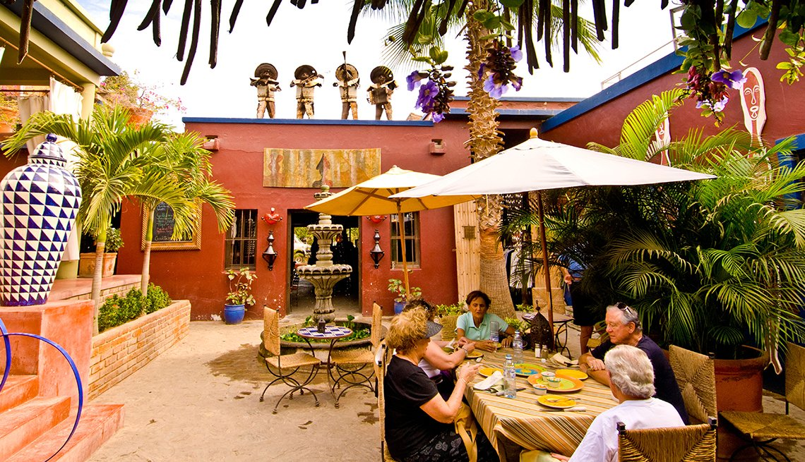 People Enjoying Lunch at Hotel California Restaurant in Todos Santos, Mexican Getaways, Travel