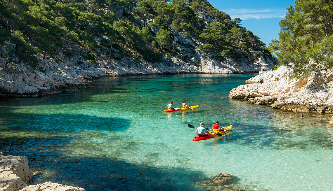 Kayakers in Calanques de Cassis National Park near Marseille, France, Provence Attractions