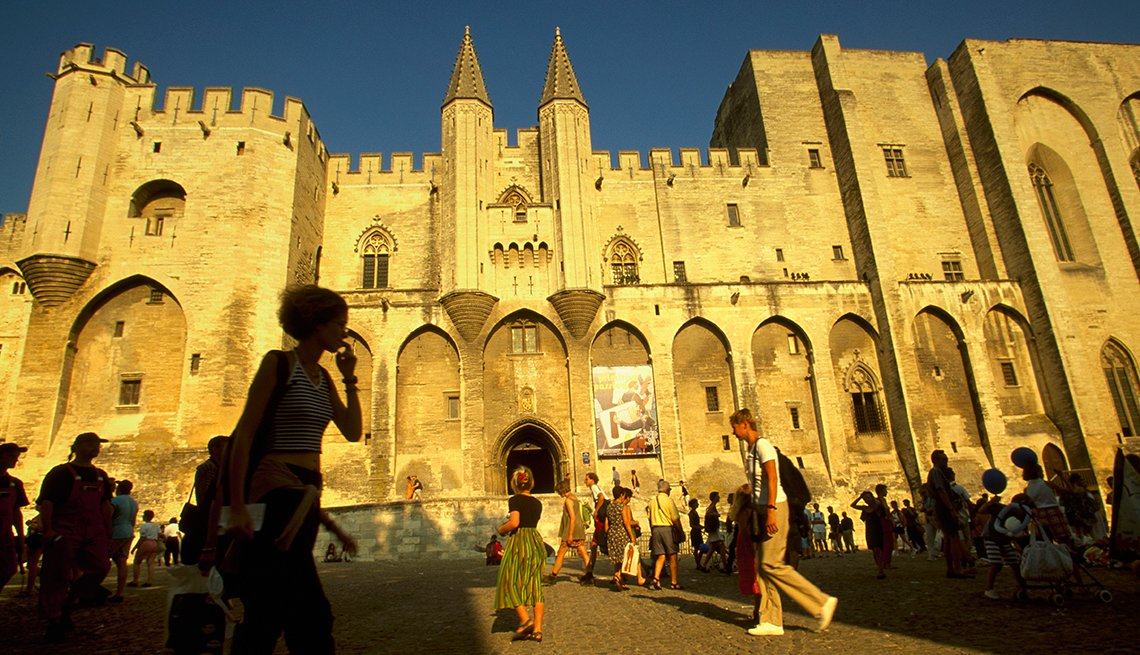 Spectators in Front of Palace of the Popes in Avignon, France, Provence Attractions