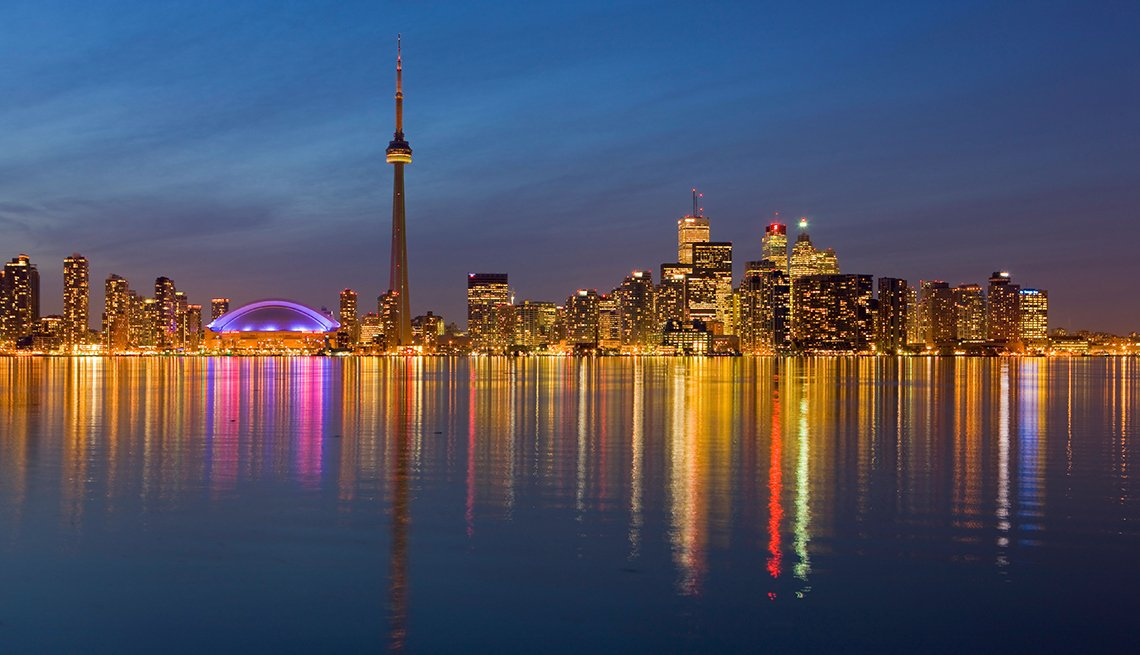 Toronto Skyline Reflections, Lake Ontario Night, World's Best Budget Places