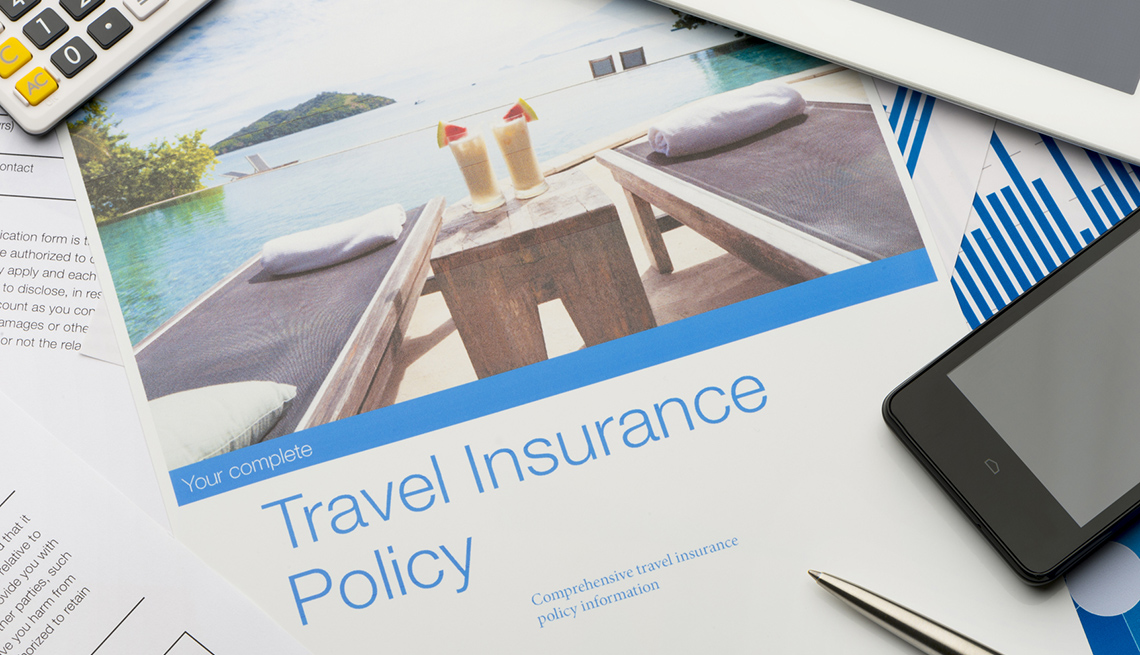 Travel Insurance Document, Smartphone, Calculator, Checklist for International Travel