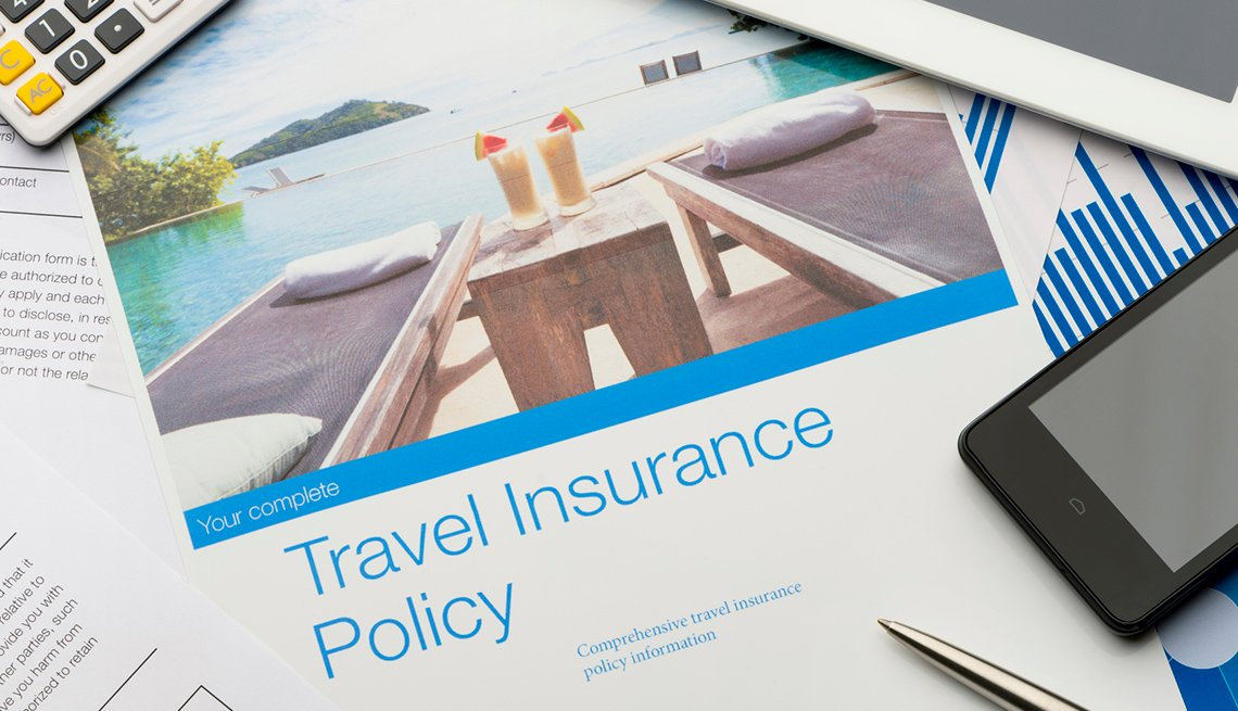 Travel Insurance Document, Smartphone, Calculator, Checklist for International Travel