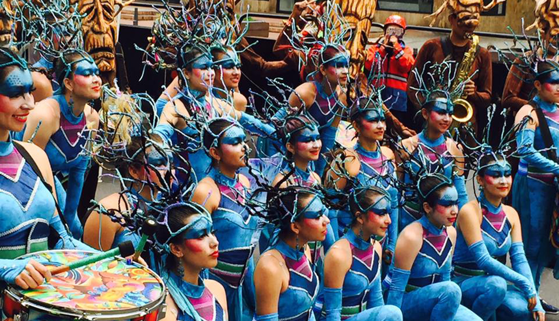 Colorful Costumed Dancers In The Streets Of Colombia, Colombia Slideshow
