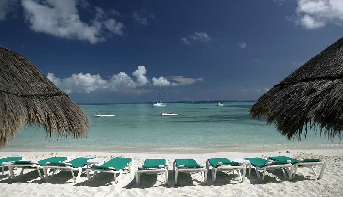 The Beach Chairs On Beach At Grand Park Cancun, All Inclusive Mexican Resorts