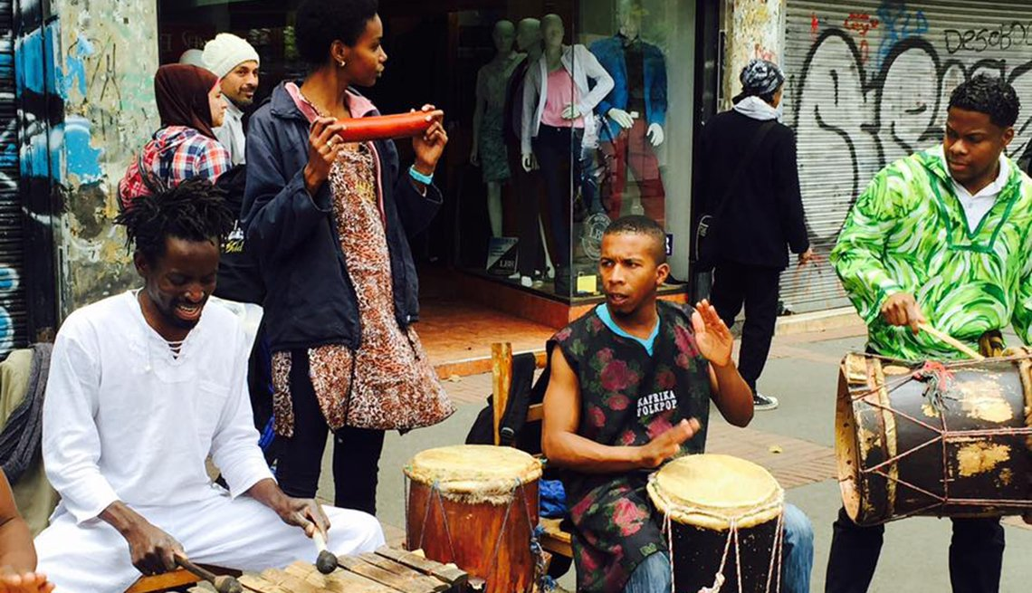 Street Musicians Perform In Colombia With Passersby, Colombia Slideshow