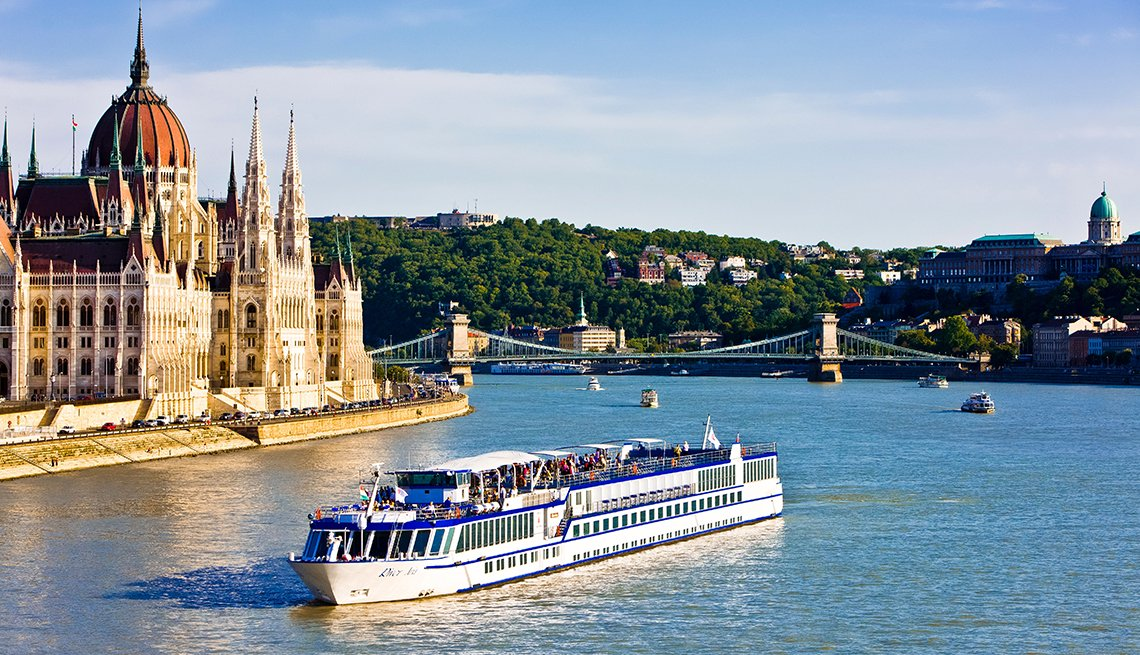 Cruise ship passing the Parliament on the Danube, Budapest,