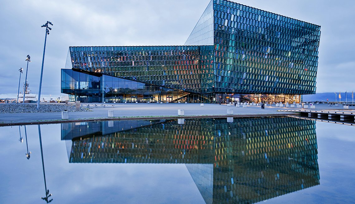 Sala de conciertos de harpa y centro de conferencias en Reykjavik, Islandia.