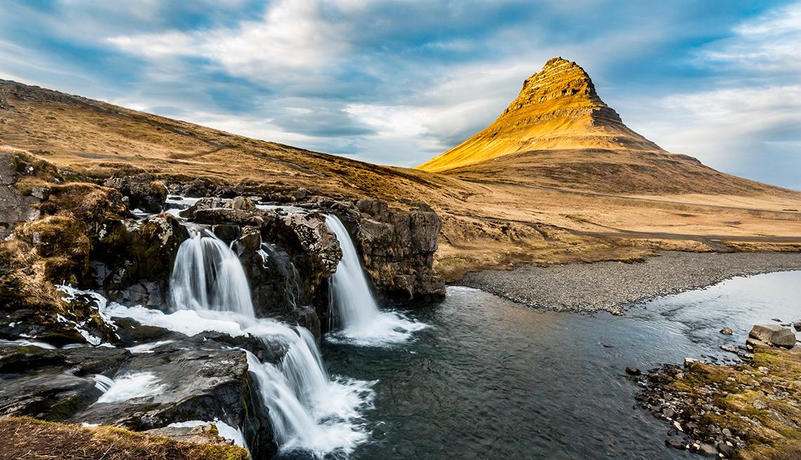 Mount Kirkjufell with Kirkjufellsfoss waterfall