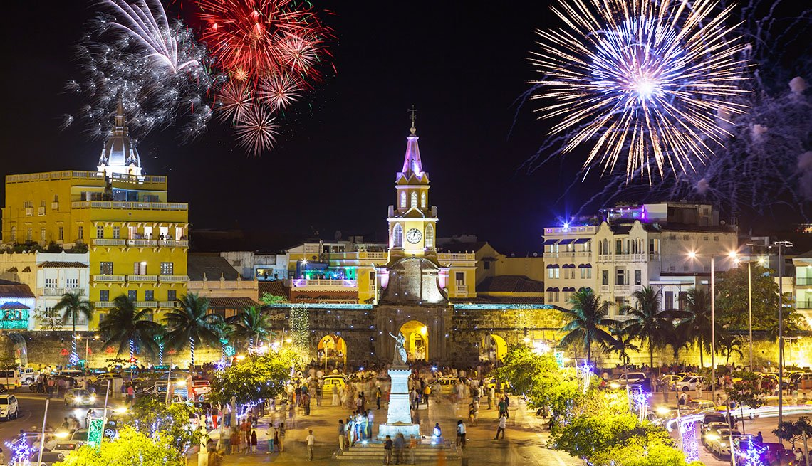 Night time view of the Puerta del Reloj (Clock Tower Gate),the main gate to the old town in the historic district of Cartagena, Colombia