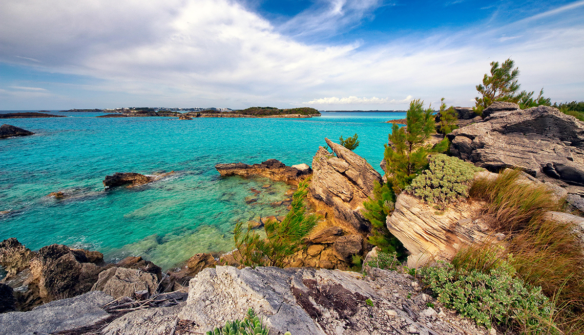 Scenic view from windy and rugged coast on Copper's Island in Bermuda