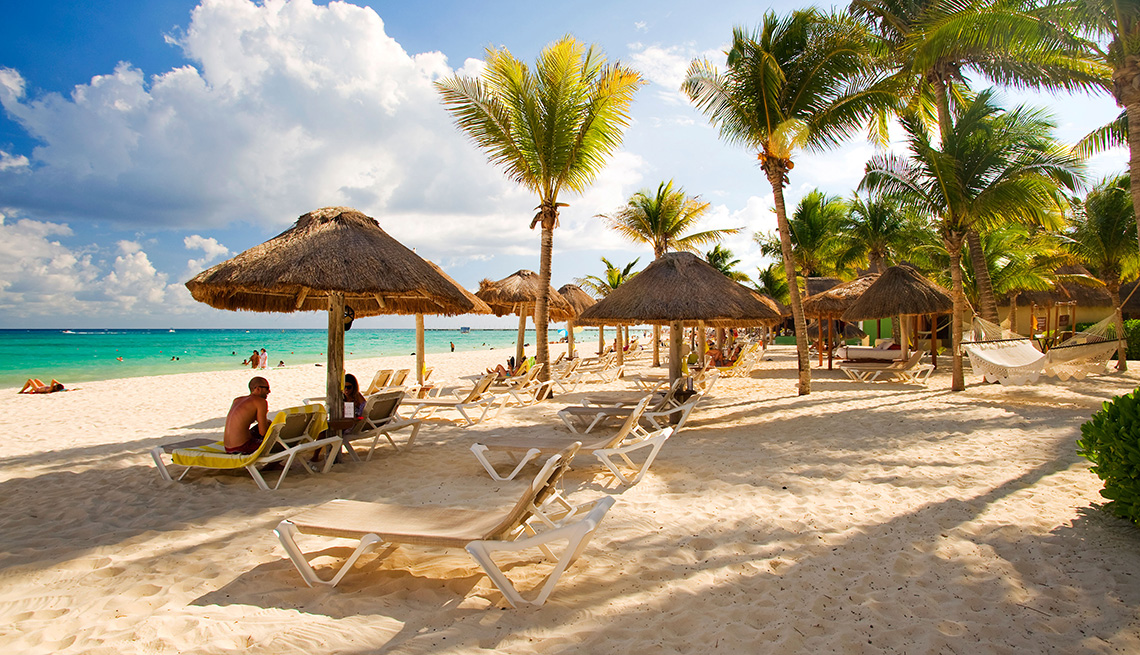 The beach at Mahekal Resort in Playa del Carmen