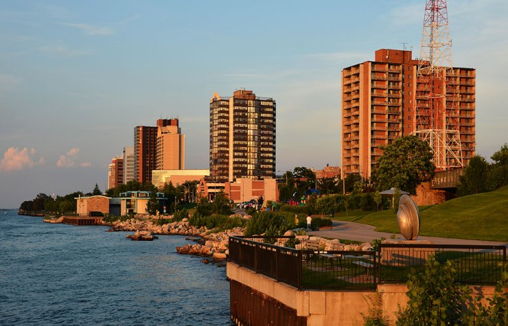Apartment buildings line the river in Windsor, Ontario