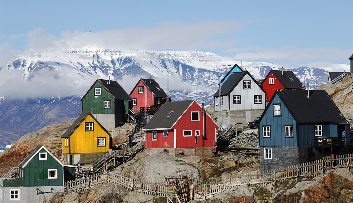 Colorful houses on the island of Uummannaq Greenland