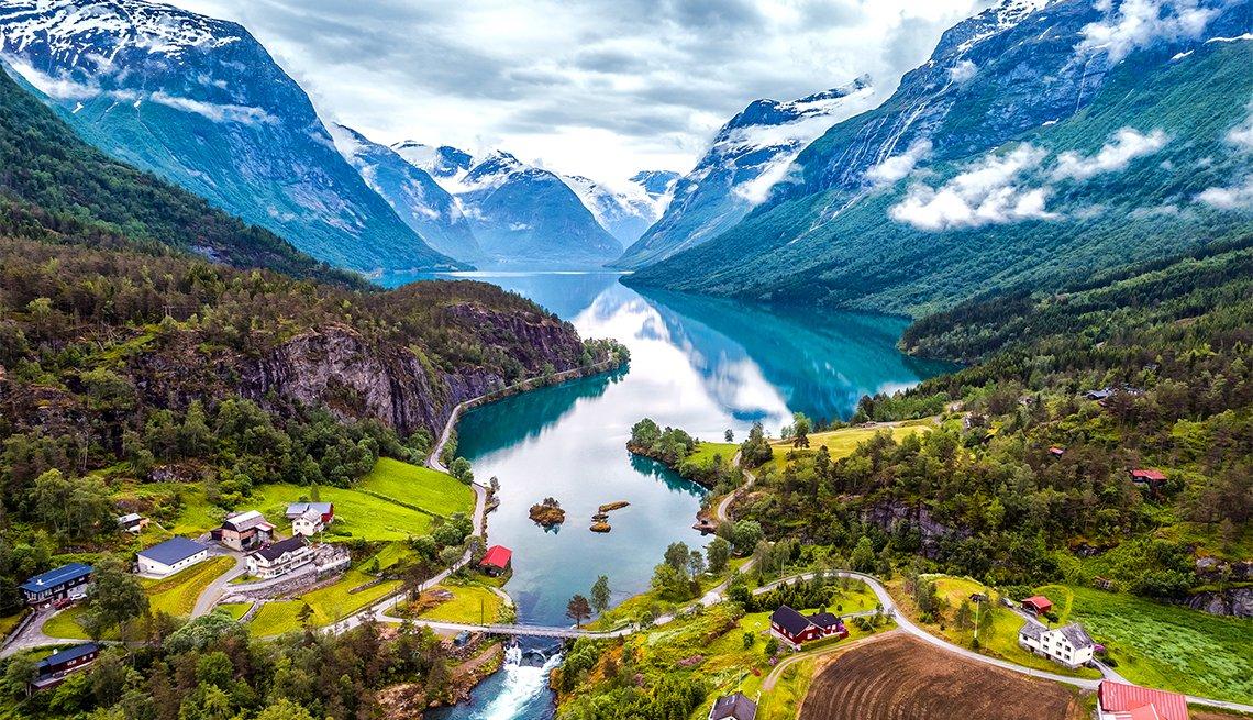 beautiful aerial photo of Norway