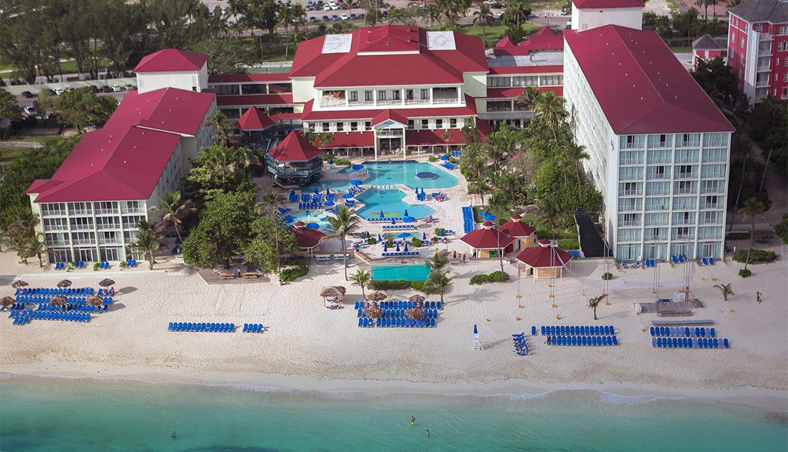 An overhead view of Breezes Resort in Nassau, The Bahamas