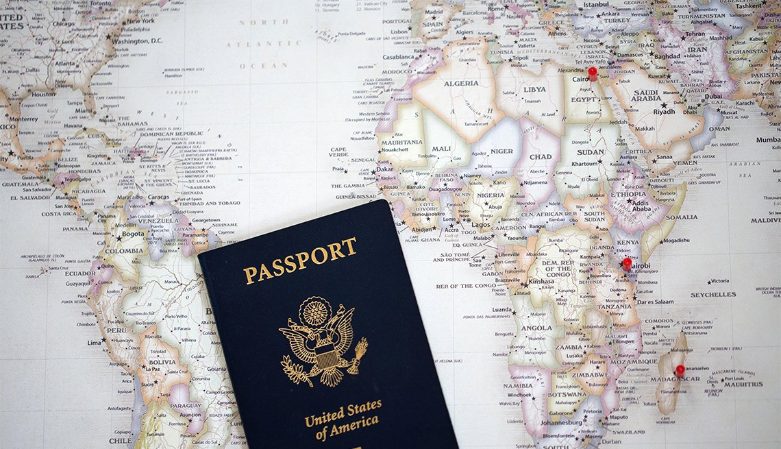 U.S. Passport on the world map