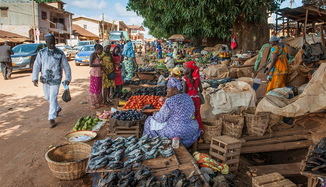 Women selling local goods in Foumban, Cameroon