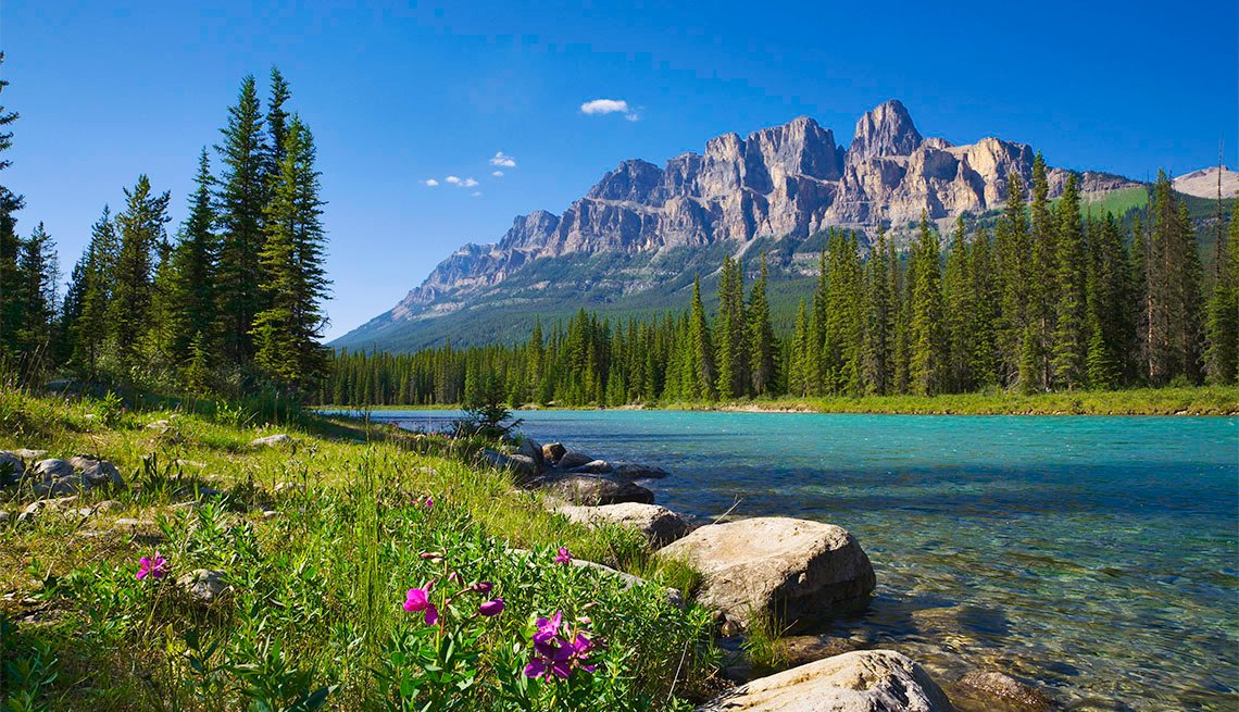 Banff National Park, featuring Castle Mountain and Bow River