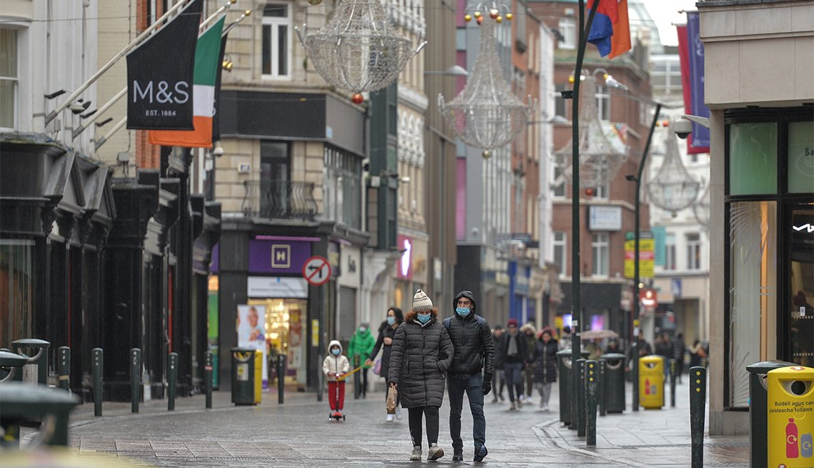 A view of Grafton Street in Dublin city centre during Level 5 Covid-19 lockdown