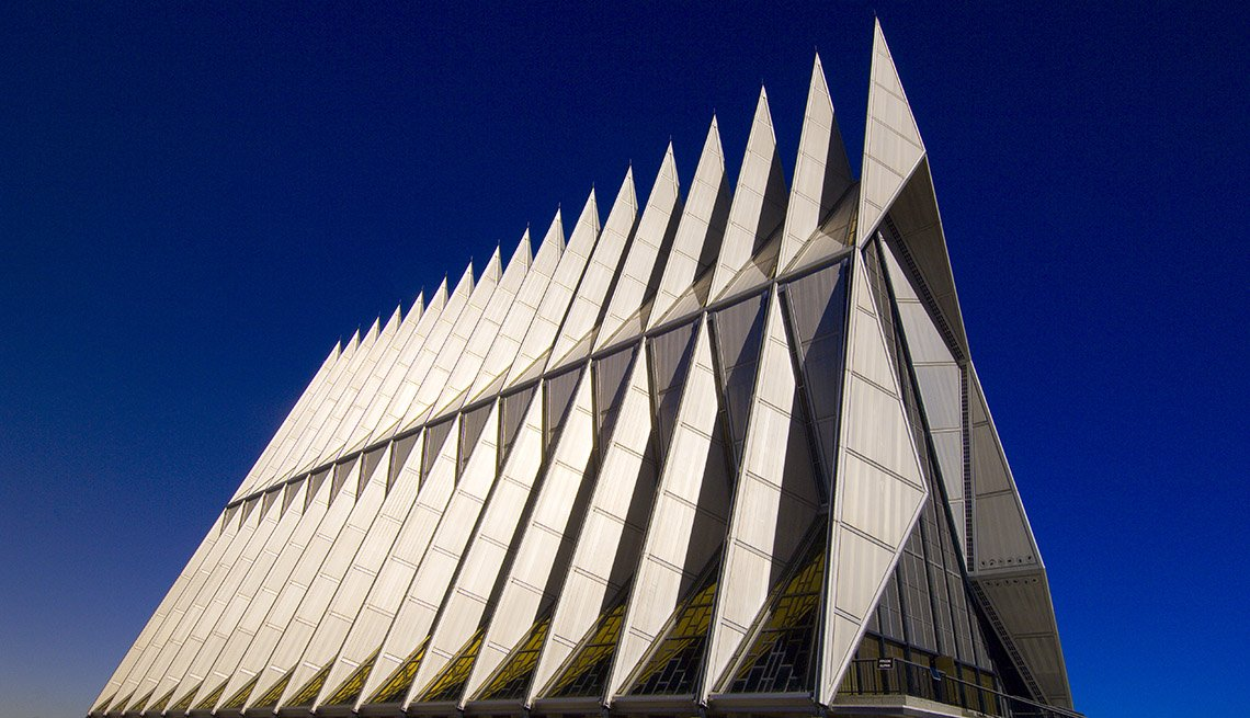 View Of The Modern Architecture Of The Air Force Academy Cadet Chapel, Bizarre Buildings