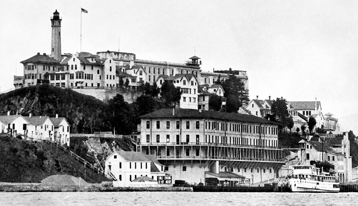 Black And White Photo Of The Infamous Alcatraz Prison Off The Coast Of San Francisco, Bizarre Buildings
