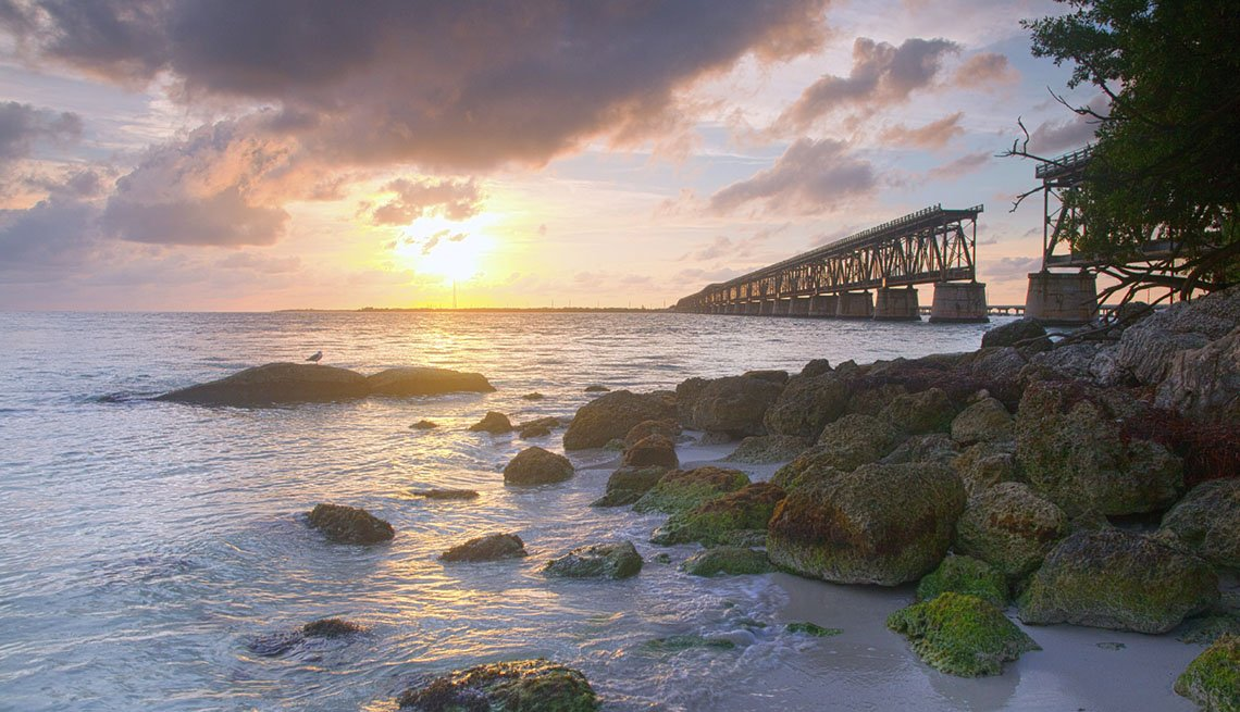 Sunset Overlooking The Bridge And Lake In Bahia Honda Key State Park In Florida, Best Fishing And Boating Spots In USA