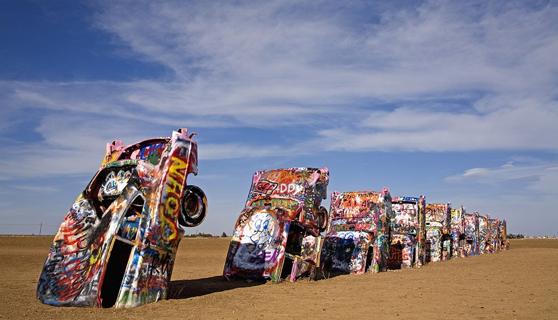 Cadillac Ranch In Amarillo Texas Features Cars Dug Dig Into The Sand And Sticking Up Into The Air, Roadside Attractions