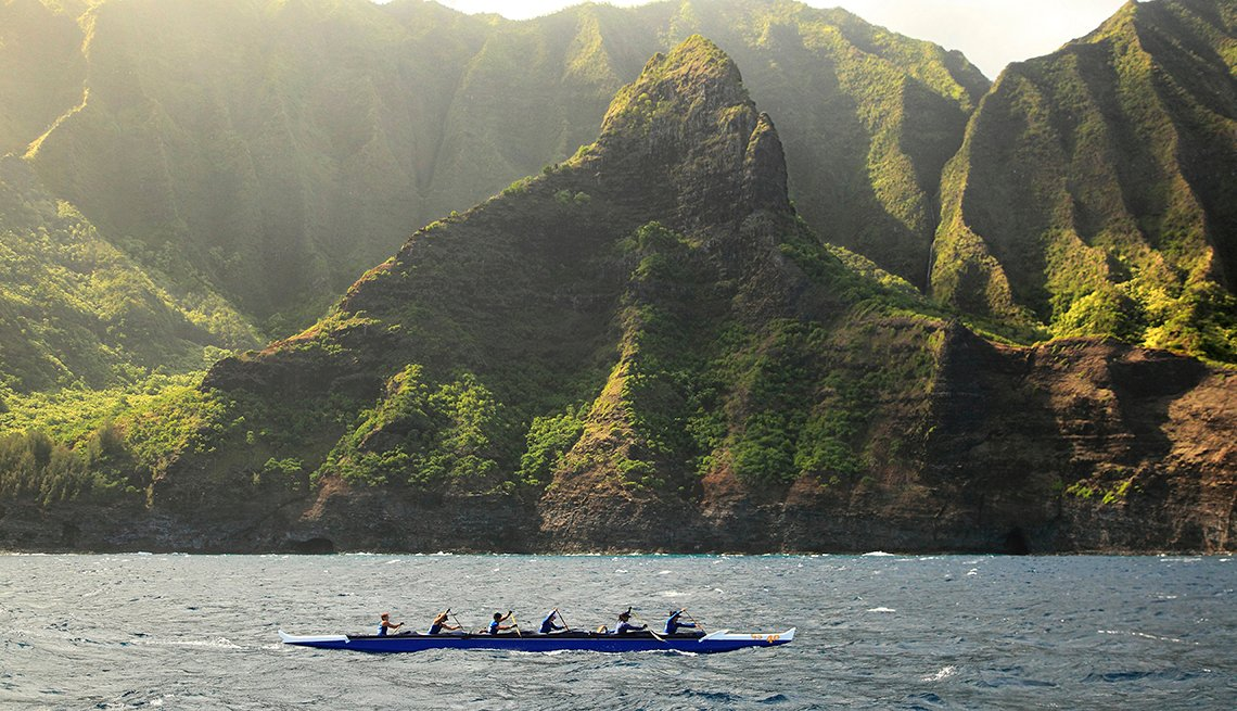 Canoe Paddled Past Green Cliffs, Na Pali Coast, Kauai, Hawaii, Popular Tourist Attractions in America