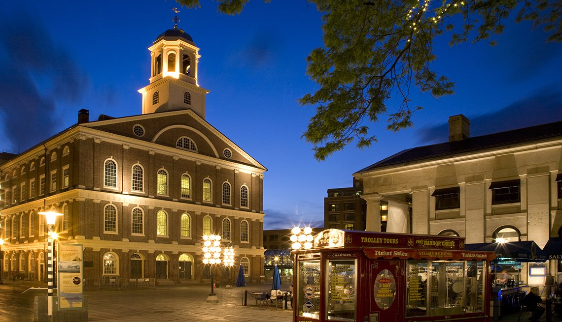 Faneuil Hall, Boston, Evening Light, Popular Tourist Attractions in America