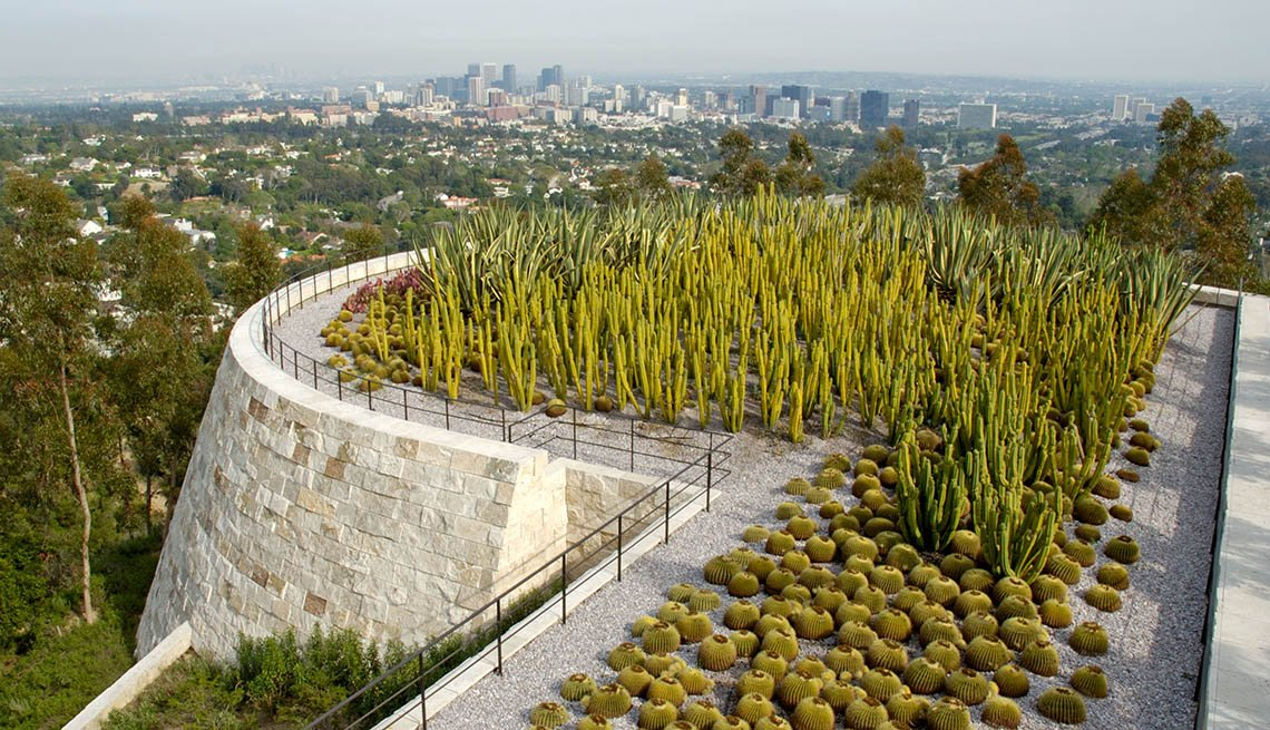 Aerial View Of The Cactus Garden At The Getty Center In Los Angeles California, Amazing USA Gardens