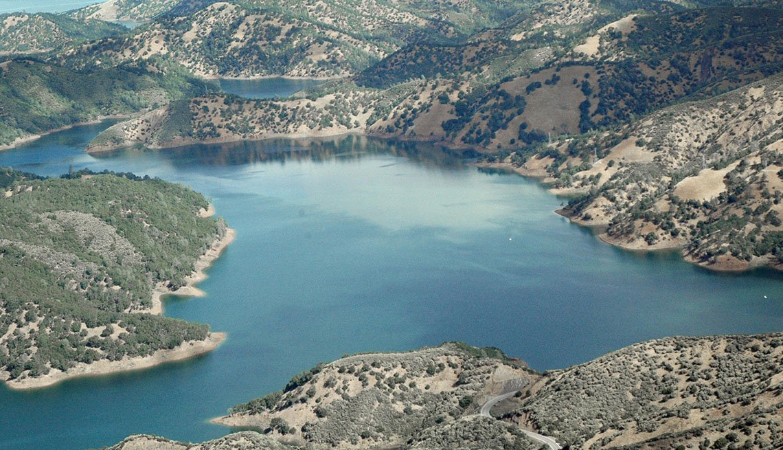 Aerial View Of Lake Berryessa In Northern California, Best Spots For Fishing And Boating In USA