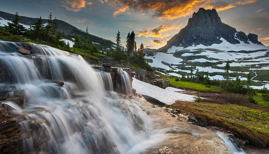 Waterfalls, Snowfields, Mountain Peak, Sunset, Popular Tourist Attractions in America