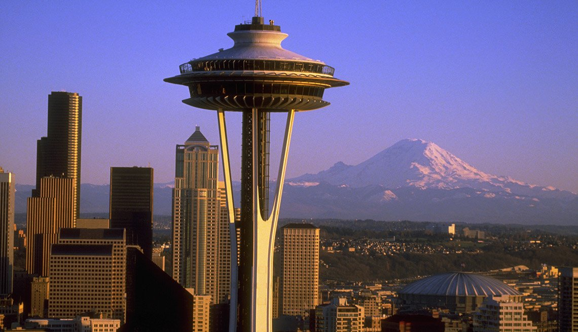 Aerial View Of The Space Needle, Downtown Seattle And Mount Rainier In The Background, Bizarre Buildings