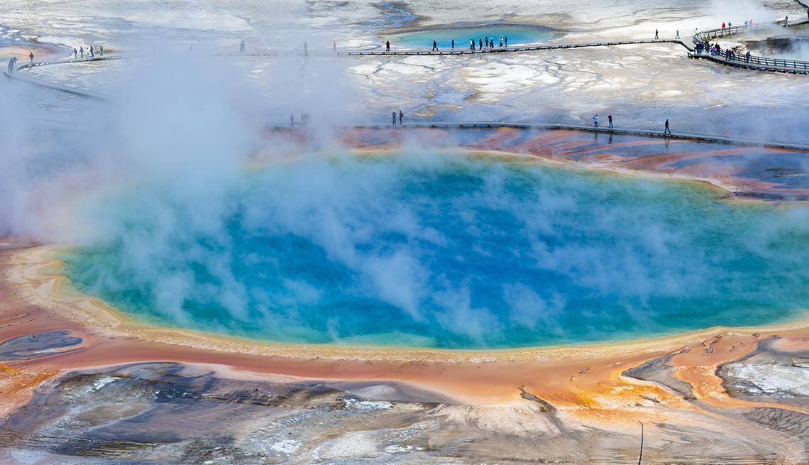 Steam over Blue Pool, People Boardwalks, Yellowstone National Park, America's Top 10 Natural Wonders