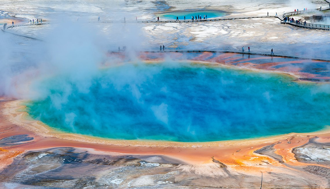 Steam over Blue Pool, People Boardwalks, Yellowstone National Park, America's Top 10 Natural Wonders
