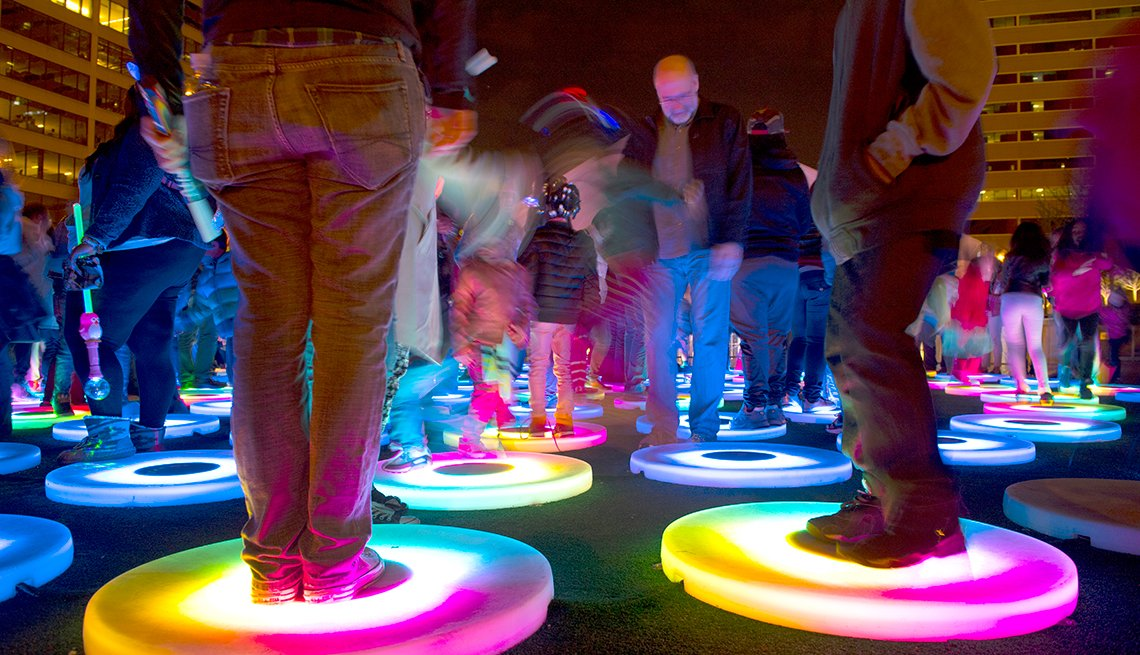 """Festival-goers at the Festival of Bright Lights Interact with The Pool"""" by Jen Lewin, Adventures for 2017"""