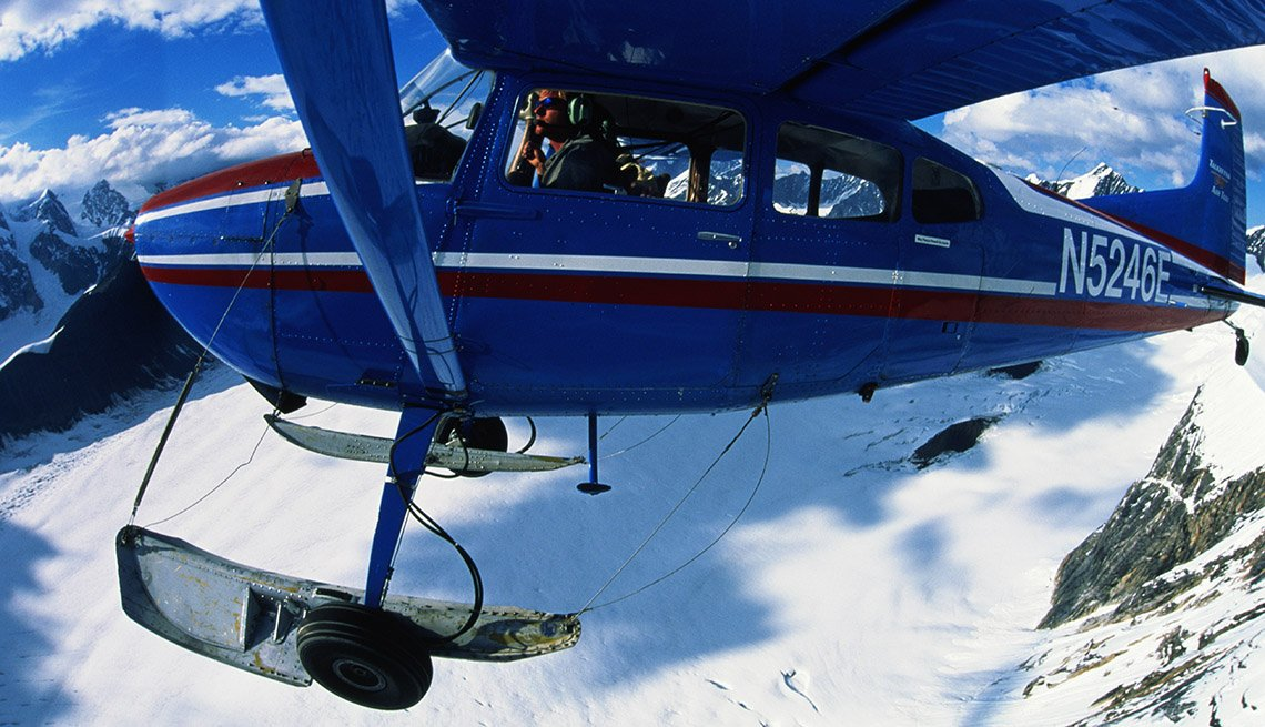 Close Up Of An Airplane Over Denali Mountains In Alaska, National Parks Experiences