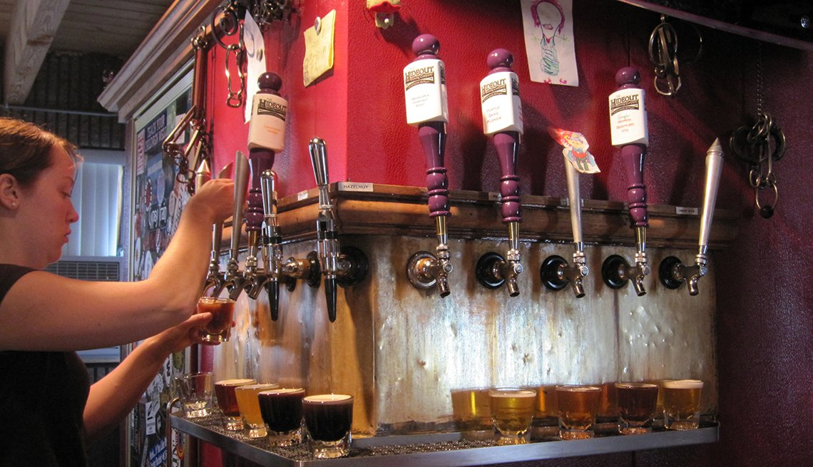 Draft Beer Taps, Young Woman Server, Grand Rapids, Michigan, Budget U.S. Trips
